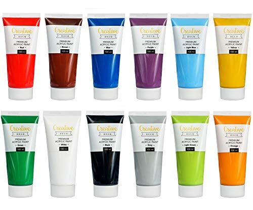 Creative Deco Acrylfarben Set XXL | 12 Groß 100 ml Röhren | Acryl Farbset Hergestellt in EU | Für Anfänger Studenten Künstler und Profis | Ideal für Holz Leinwand Stoff und Papier | 12 x 100 ml Tuben