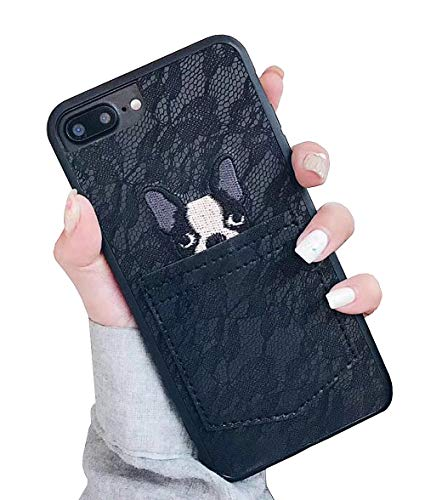 6ca8a1115f02 UnnFiko Leather Wallet Phone Case with Credit Card Holders, Lace Dog Pocket  Cover with Card Slots for iPhone 6 Plus/iPhone 6s Plus (Black, iPhone 6 ...