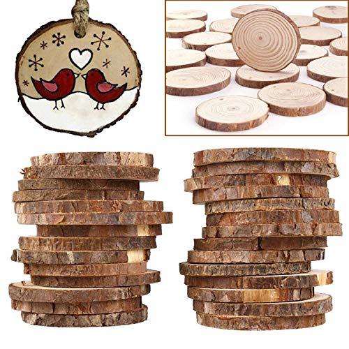 50er Set aus 4-5cm Runden Naturholz Scheiben mit Fädelloch von Kurtzy - Rustikale Holzscheiben mit Rinde und Glatter Oberfläche - 5mm Dicke - Baumscheiben für Handwerke, Dekorationen u. zum Basteln