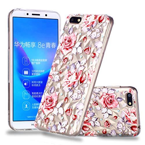 Nadoli Durchsichtige Schutzhülle für Huawei Y5 2018,Rot Blumen Rautenmuster Silikon TPU Transparent Ultra Dünn Stoßfes Kratzfest Weich Back Handyhülle Cover für Huawei Y5 2018