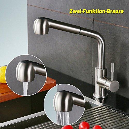 Homelody – herausziehbare Küchenarmatur, 360 Grad drehbar, Chrom - 2