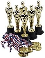 Trofeos de Oro de 15cm (Pack de 12) con 12 Medallas de Oro Prextex para Ceremonias y Fiestas de Prextex