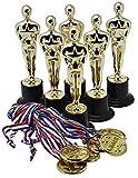 Trofeos de Oro de 15cm (Pack de 12) con 12 Medallas de Oro Prextex para Ceremonias y Fiestas
