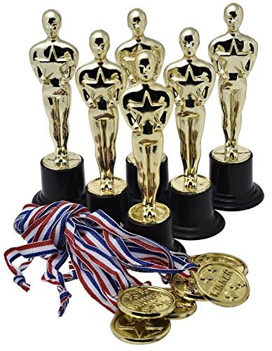 prextex-gold-6-award-trophies-12-pack-with-12-gold-winner-medals-for-ceremonies-or-parties