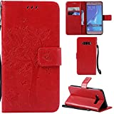 Ooboom® Samsung Galaxy J5 2016 Case Cat Tree Pattern PU Leather Flip Cover Wallet Stand with Card/Cash Slots Packet Wrist Strap Magnetic Clasp for Samsung Galaxy J5 2016 - Red