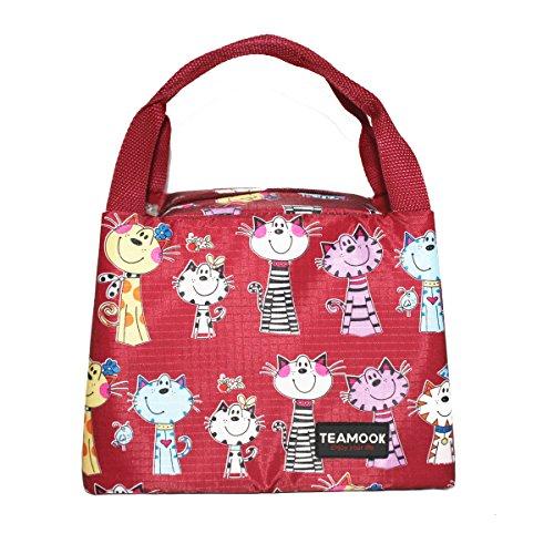 TEAMOOK Isolierte Mittagessen-Picknick-Kühltasche für Männer und Frauen, Kühltasche Lunch Tasche Isoliertasche (rote Katze)