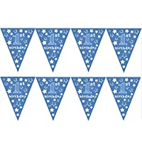 1st Birthday Boy Stars Design Blue Age Bunting - Ideal for your little boys 1st birthday, Special Occasion, Party Decoration Bunting Flags One Sided (1 Pack of Bunting - 12pcs)