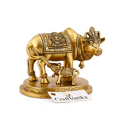 (craftvatika Beautiful Kamdhenu Kuh Statue Messing Hindu Diety Mutter Kuh & Kalb Figur mit Golden Finish Home Decor & Gifts)