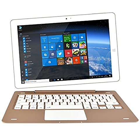 NINETEC Ultratab 10 Pro Convertible Tablet PC 2in1 Windows 10 + Android Ultradünnes Vollaluminium Gehäuse Gold