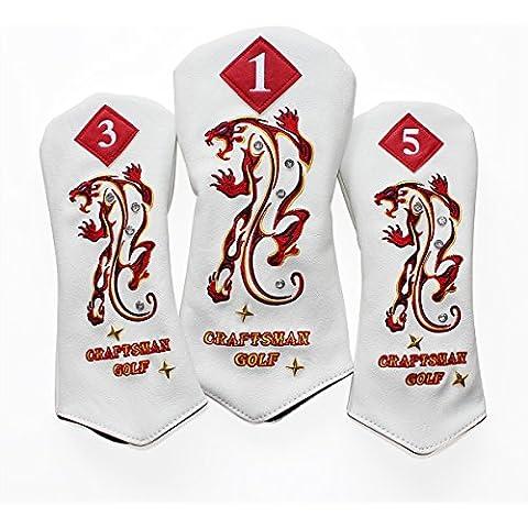 Artesano Golf piel sintética Embroideried 1 3 5 Tiger diamante blanco cubierta de la cabeza del conductor Fairway Golf set