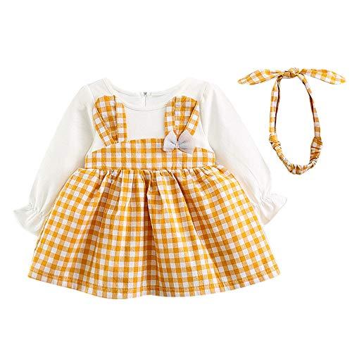 (OverDose Damen 2018 Neugeborenen Baby Mädchen Cartoon Warme Prinzessin Liebhaber Print Kleid + Weste Outfits Kleidung Set(Y-Y-Gelb,6 Monate))
