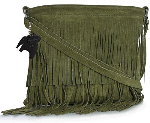 Big Handbag Shop - Borsa a tracolla da donna, compatta, in pelle scamosciata, con frange Olive