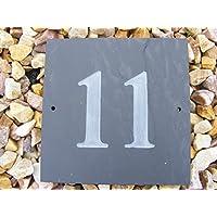 11 número NATURAL gris SLATE para puertas número 15,24 cm x 15,24 cm superficie NATURAL en inglés grabado con texto en inglés casa nueva regalo (150 x 150 mm) No. 11
