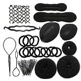 Kit per acconciature, per parrucchiere, con elastici, pinze, bigodini, ciambelle per chignon, treccia