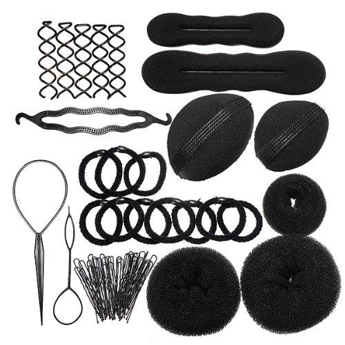 Haarpflege-Set (Haarbänder, Zange, Wulst, Lockenwickler, Clips, Haarspangen)