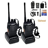 2PCS Galwad-888S Rechargeable 400-470 MHz 16CH UHF FM Long Range High Illumination Flashlight Walkie Talkie Two-Way Radio with USB Charger and Original Earpieces (Pack of 2)