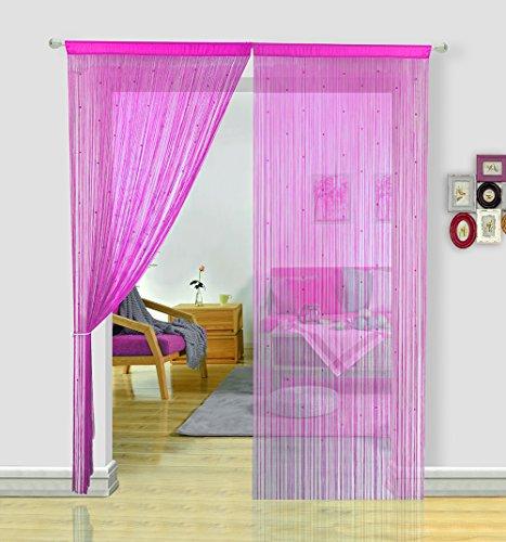 Hsylym - tende a fili per porta con spaghetti, leggere e colorate, per decorazioni di feste, poliestere, rosa, 90x245cm(35x96inch)