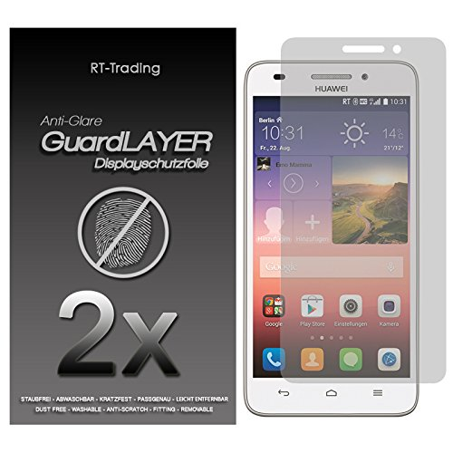 2x Huawei Ascend G620S - Bildschirm Schutzfolie Matt Folie Schutz Bildschirm Anti Glare Screen Protector Bildschirmfolie - RT-Trading
