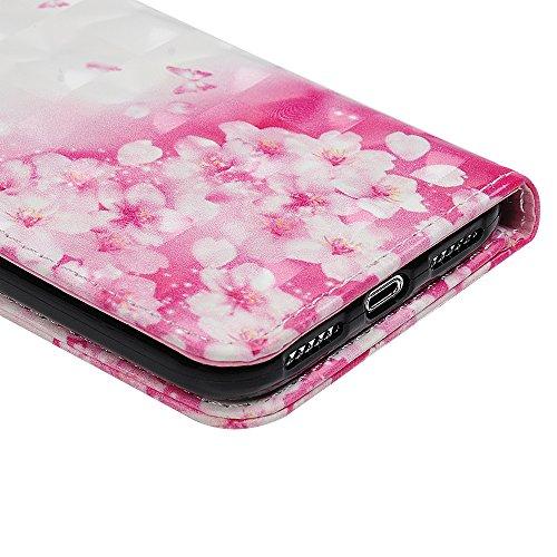 MAXFE.CO Schutzhülle Tasche Case für iPhone X PU Leder Flip Tasche Cover 3D Design im Ständer Book Case / Kartenfach Baum + Kaninchen Schmetterlling