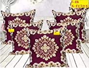 FAB NATION Cushion Covers (16X16 Inches) - Cotton Jacquard Fabric - Loom Weave (Purple)