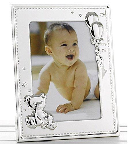 New Baby silber Foto Rahmen mit Teddy und Luftballons für 12,7x 17,8cm Foto