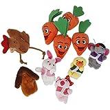 10pcs Conjunto Marionetas De Dedo Juego de Niños Peluche Sopa de Conejo Zanahoria Animal Multicolor