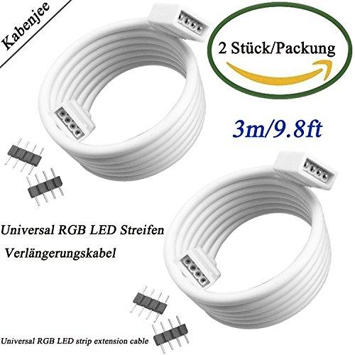 Preisvergleich Produktbild Kabenjee 2X 3m RGB5050 2835 3528 LED-Streifen Lichtverbinderkabel für OSRAM flexible RGB LED Streifen,4-polig LED Streifenlicht Verlängerungskabel Verteilerkabel,4color RGB LED-Dekoration Verlängerungsstecker mit lötfreiem Stecker(2Stück/Packung)