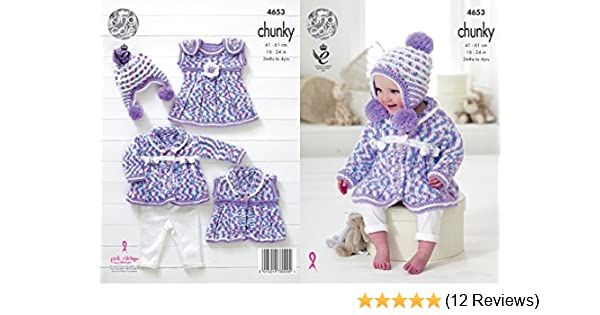 King Cole Baby Chunky Knitting Pattern Coat Dress Waistcoat Pompom Hat Set 4653