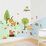 Malilove Schönes Kleines Dschungel Tiere Wandaufklebern Kids Room Decor Home Aufkleber Eulen Cartoon Tree Wall Art