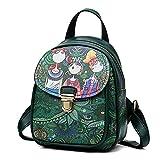 LMRYJQ Damen Elegant Rucksack Handtasche Damen Rucksack Forest Casual Rucksack Headset-Tasche Studentenreisetasche (Green)