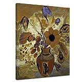 Bilderdepot24 Kunstdruck - Alte Meister - Odilon Redon - Etruskische Vase mit Blumen - 50x70cm einteilig - Leinwandbilder - Bild auf Leinwand - Wandbild