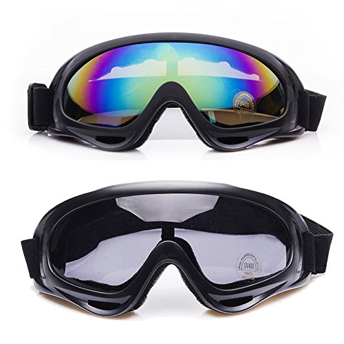 Wildlead 2 Pcs Outdoor Ski Goggles UV 400 Protection Wind Resistance Anti-Glare Lenses Skate Glasses For Men Women