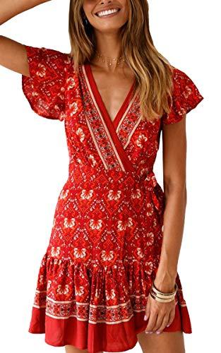 ECOWISH Damen Kleider Boho Vintage Sommerkleid V-Ausschnitt A-Linie Minikleid Swing Strandkleid mit Gürtel 045 Rot S