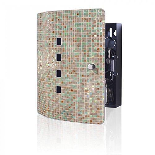 BANJADO Design Schlüsselkasten aus Edelstahl, 10 Haken für Schlüssel, praktischer Magnetverschluss, 24x21,5cm, Motiv Grüne Fliesen (Schlüssel Fliese)
