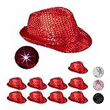 Relaxdays 10 x Pailletten Hut, 6 blinkende LEDs, mit Glitzer, Männer & Frauen, JGA, Fasching, Partyhut, Einheitsgröße, rot