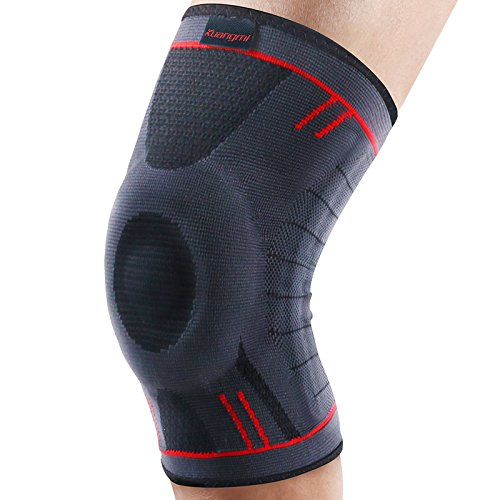 Kuangmi Knie Sleeve Unterstutzung Kompression Klammer Anti Slip Schmerzlinderung fur Sport Arthritis Patella Gelenkverletzung Recovery 1 stuck,Upgraded Blue XL