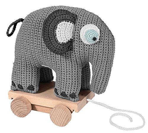 Sebra Ziehtier Elefant auf Rädern aus Baumwolle & Holz, gehäkelt, in grau (ab 1 Jahr)