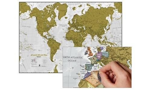Rasca en mundo mapa mural en INGLÉS