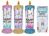 Geburtstags Kerze Liquid Glitter - Happy Birthday, mit farbwechselnder LED, H: ca. 25 cm für 3 Micro Batterien (AAA) rosa