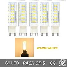 Bombillas LED G9 de 7W,Equivalentes a Lámparas Halógenas de 50W,Blanco Cálido 3000K,500lm,Ángulo de Haz de 360°,AC 220V,No Regulable,Pack de 5