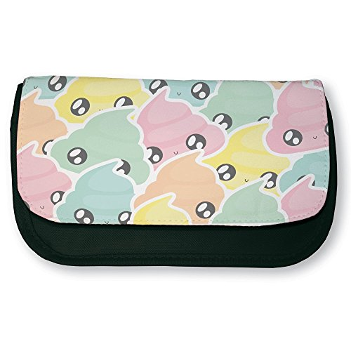 Trousse noire de maquillage ou d'école Caca Pastel multicolor Kawaii et Chibi by Fluffy chamalow - Fabriqué en France - Chamalow shop