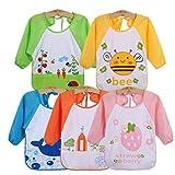 Haimoburg 5 pezzi Impermeabile Bambino Bavaglino Grembiule con Maniche Lunghe Bambini 6 mesi - 3 anni (5 pezzi A)