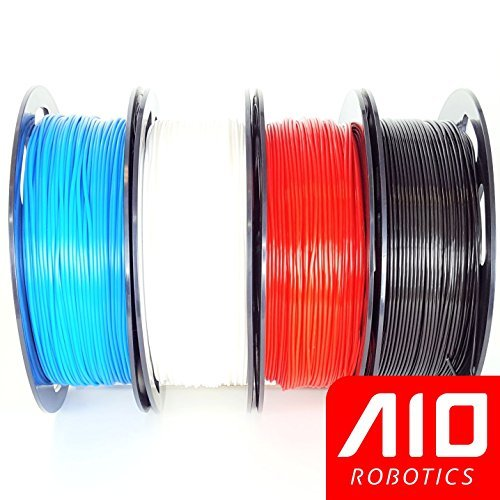 Filamento AIO Robotics Premium para impresoras 3D, PLA, 4 x 0,5 kg PLA, colores populares - Azul (285C), Blanco (9010RL), Rojo (206C), Negro (426C)