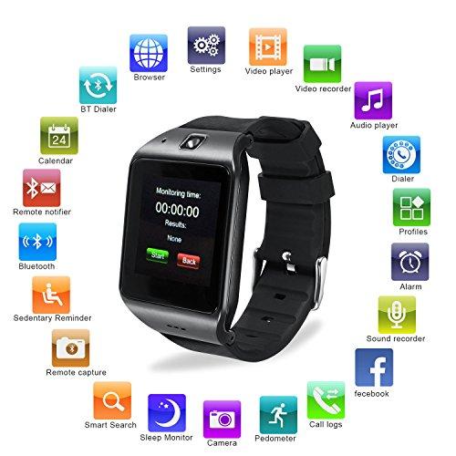 Reloj Inteligente, [Regalo] HAMSWAN Smartwatch Bluetooth para Andriod IOS, Smartwatch con Cámara Batería 550mAh Facebook Whatsapp Twitter Cronómetro Pódometro Monitor de Dormir etc. Reloj Inteligente Smartwatch Soporte Tarjeta TF SIM