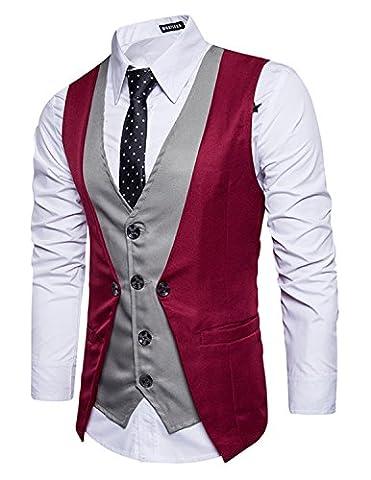 Leisure Herren Anzugweste Gentleman Basic Mode Einreiher vier Knöpfe 2 in 1 Weste,Rot 1,XXL