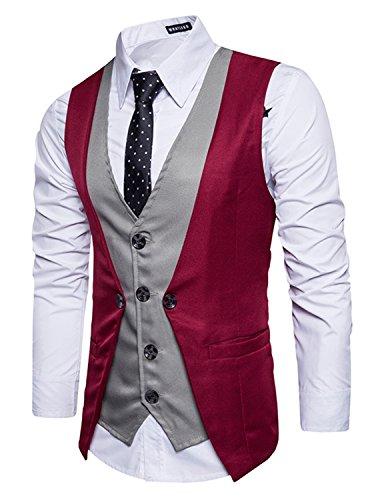 Leisure Herren Anzugweste Gentleman Basic Mode Einreiher vier Knöpfe 2 in 1 Weste,Rot 1,XL