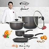 San Ignacio Set Best Choice Batería de Cocina Gourmet, Gris Oscuro, Cazo de Ø16 Ø20 sartén Grill...