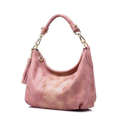 Realer Borse donne borsa piccola pelletteria Hobos messaggero con nappe Rosa