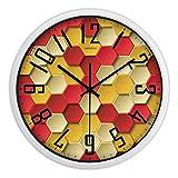 LWXTY Silencioso sin Ruidos Reloj de Pared,Grandes Creativo Dormitorio Cuarzo Precisión Transparente Vaso Metal Reloj de Pared-Amarillo-B 30.5cm