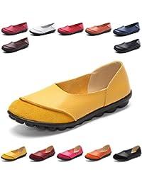 Hishoes Mujer Mocasines de cuero Moda Loafers, suave ocio pisos mocasines casuales mujer